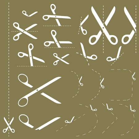 Scissors with cut lines   Stock Vector - 7819596