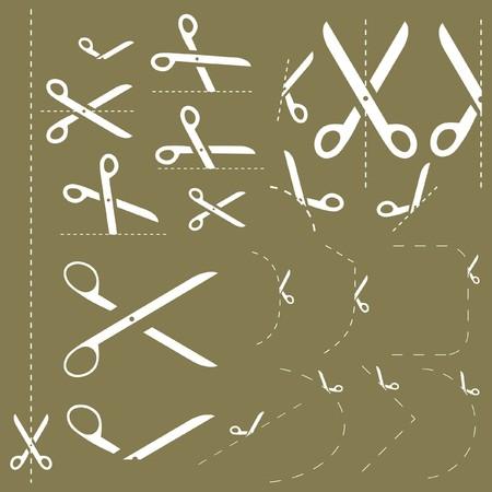 Scissors with cut lines Stock Vector - 7819596