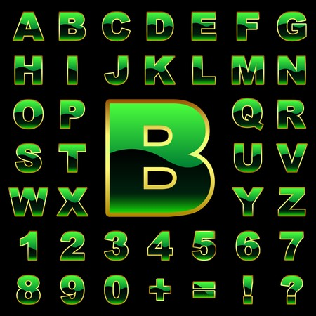display type: Alphabet. Green collection. Illustration