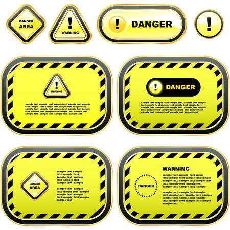 hazardous area sign: Conjunto de banner de advertencia.