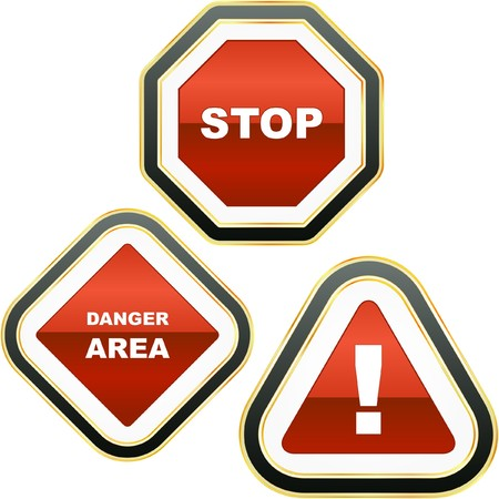 dangerous work: Warning sign collection. Illustration