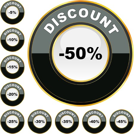 Discount button templates with different percentages   Stock Vector - 7819853