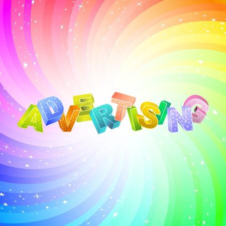 ADVERTISING. Rainbow 3d illustration.   Vector