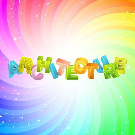 ARCHITECTURE. Rainbow 3d illustration.   Vector