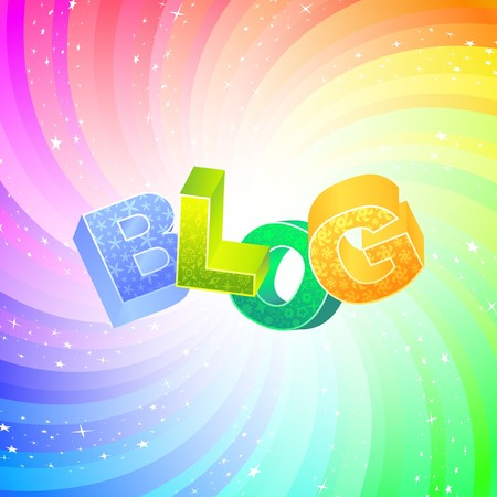 blogosphere: BLOG. Rainbow 3d illustration.