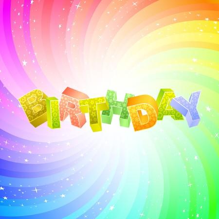 wingding: BIRTHDAY. Rainbow 3d illustration.