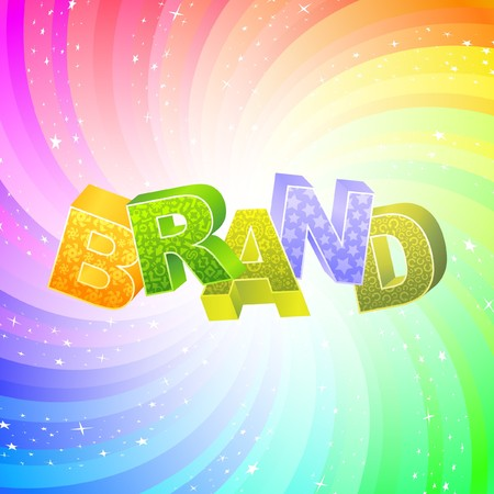 personality development: BRAND. Rainbow 3d illustration.