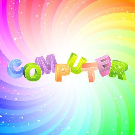 office automation: COMPUTER. Rainbow 3d illustration.
