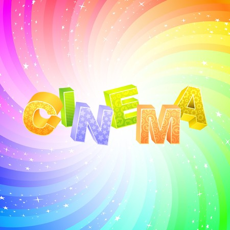 CINEMA. Rainbow 3d illustration.   Vector