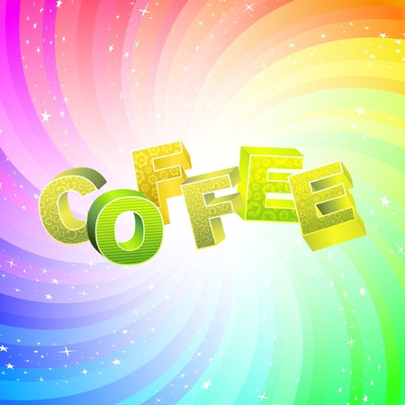 COFFEE. Rainbow 3d illustration.   Vector