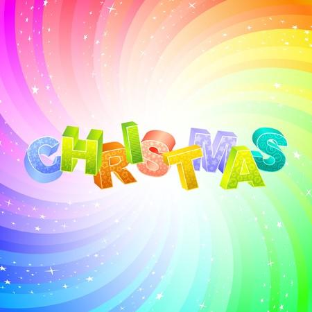 CHRISTMAS. Rainbow 3d illustration.   Vector