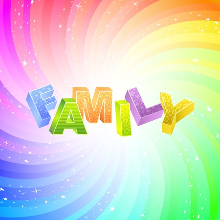 kindred: FAMILY. Rainbow 3d illustration.