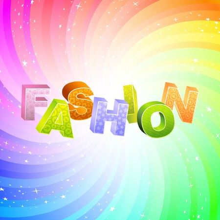 fashion catwalk: FASHION. Rainbow 3d illustration.