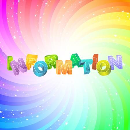 cognizance: INFORMATION. Rainbow 3d illustration.