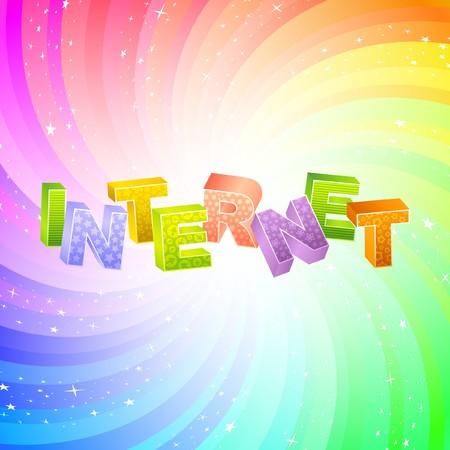 millions: INTERNET. Rainbow 3d illustration.