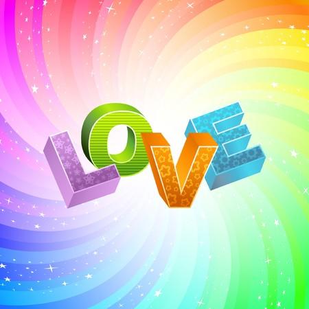 LOVE. Rainbow 3d illustration.