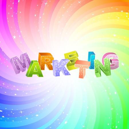 MARKETING. Rainbow 3d illustration.   Vector