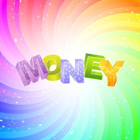 debenture stock: MONEY. Rainbow 3d illustration.