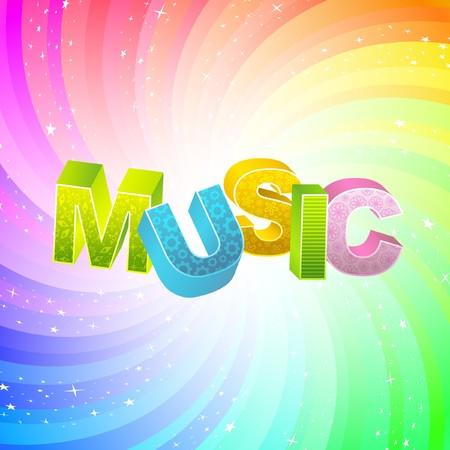 MUSIC. Rainbow 3d illustration. Stock Vector - 7800674