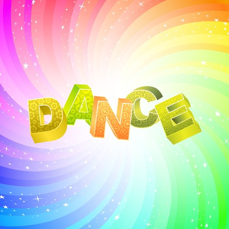 salsa dance: DANCE. Rainbow 3d illustration.   Illustration