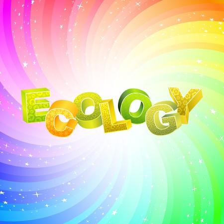 ECOLOGY. Rainbow 3d illustration.   Vector