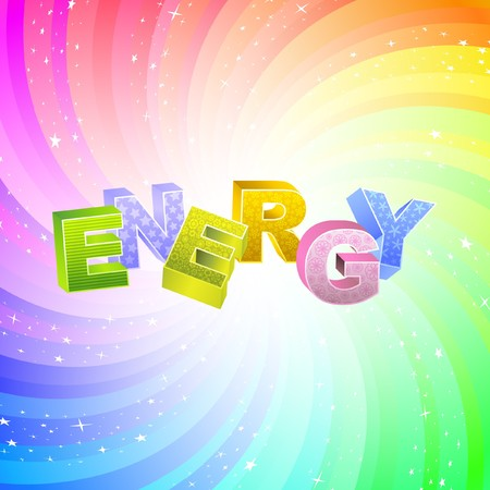 renewables: ENERGY. Rainbow 3d illustration.