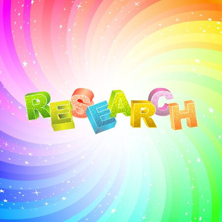 inquest: RESEARCH. Rainbow 3d illustration.