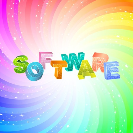 SOFTWARE. Rainbow 3d illustration.   Vector