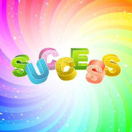 SUCCES. Regenboog 3d illustratie.