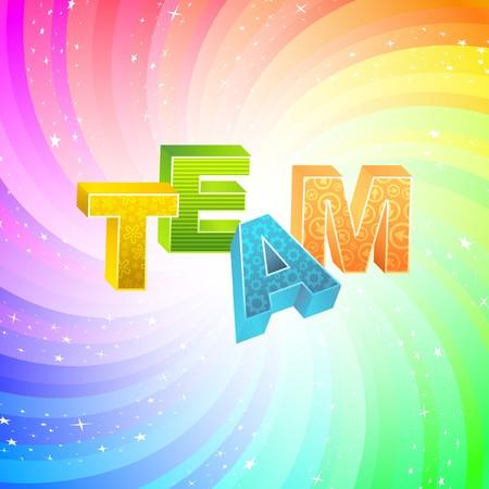 concerted: TEAM. Rainbow 3d illustration.