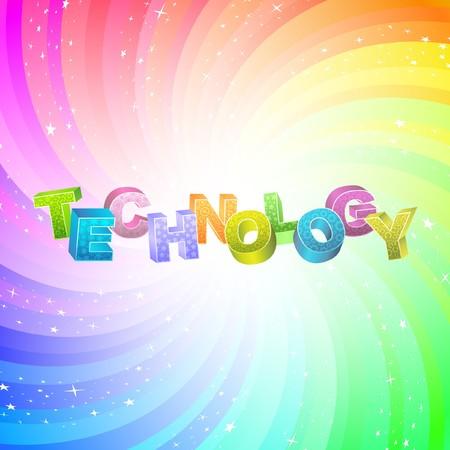 TECHNOLOGY. Rainbow 3d illustration.   Vector
