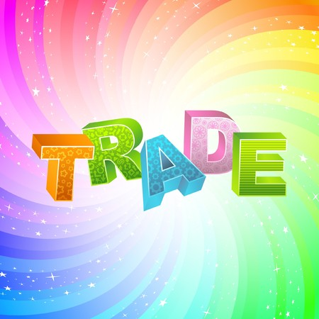 world trade center: TRADE. Rainbow 3d illustration.   Illustration