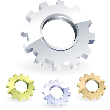 factory automation: Gear icon set.    Illustration