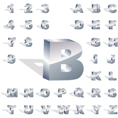 number button: Metal 3d alphabet.  Illustration