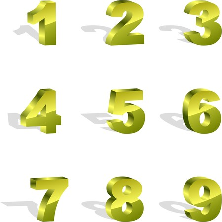 digital numbers: Number icon set. Illustration