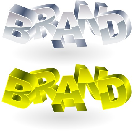 BRAND. Metal 3d illustration.   Vector