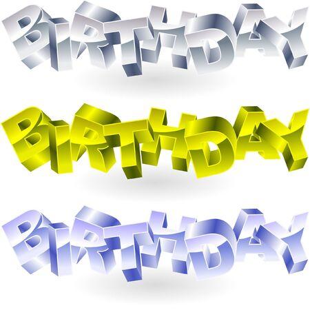 wingding: BIRTHDAY. Metal 3d illustration.   Illustration