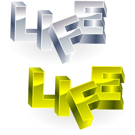 biography: LIFE. Metal 3d illustration.