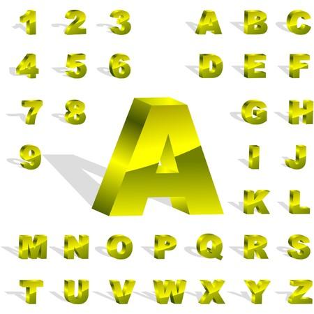 letras cromadas: alfabeto 3D. Conjunto de oro.  Vectores