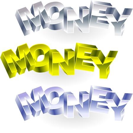 debenture stock: MONEY. Metal 3d illustration.