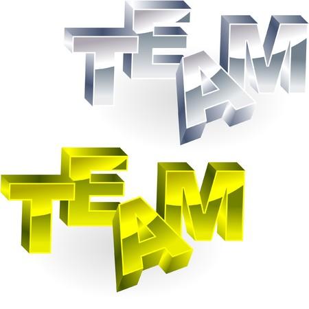 concerted: TEAM. Metal 3d illustration.