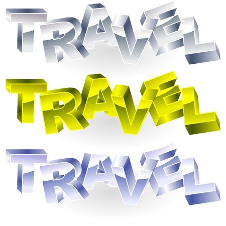 TRAVEL. Metal 3d illustration. Stock Vector - 7800895