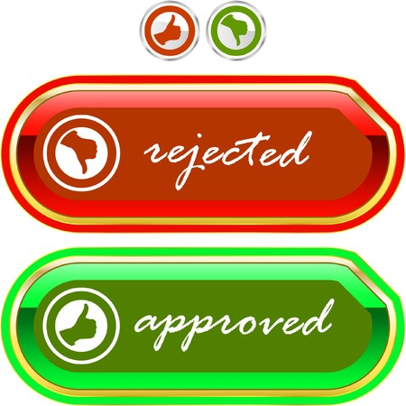 approbate: Approved and rejected icons.