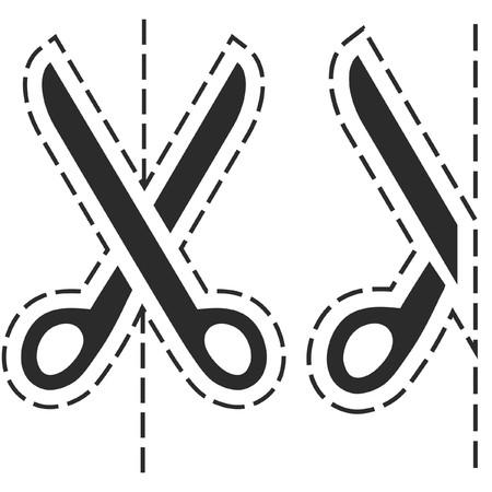tijeras cortando: Tijeras con l�neas de corte  Vectores