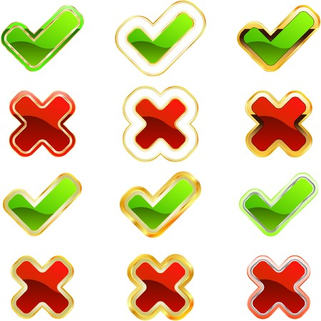 Approved and rejected icon set. Vector