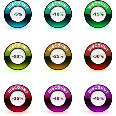 Discount label templates with different percentages   Stock Vector - 7800616