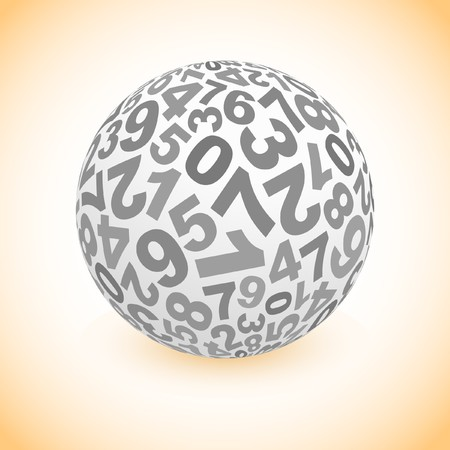 Globe with number mix. Vector