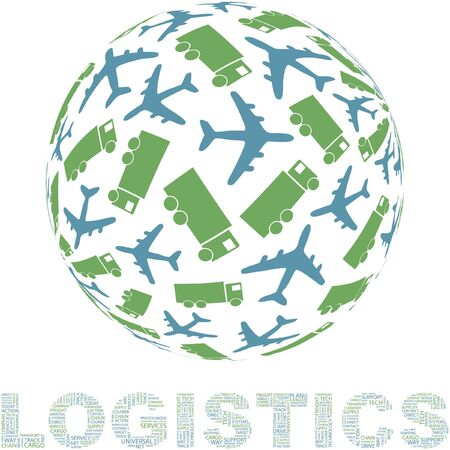 Globe with transport mix. Stock Vector - 7800608