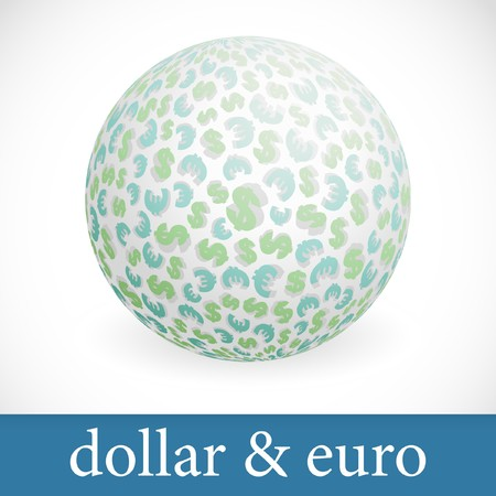 Globe with dollar and euro signs. Vector