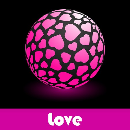 Globe with heart mix. Vector